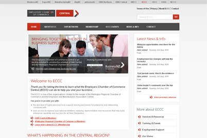 Screenshot of the Employers Chamber of Commerce Central website