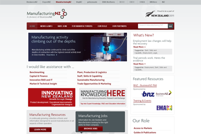Screenshot of the ManufacturingNZ website