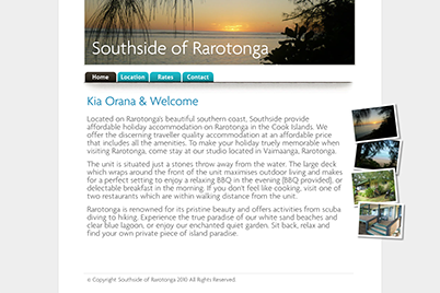 Screenshot of the Southside of Rarotonga website